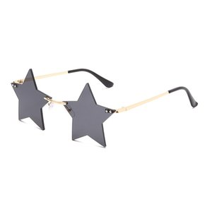 Personalidade Rimless Óculos De Sol Homens Vintage Vintage Five-Pointed Star Prom Sunglasses Feminino Party Haoix