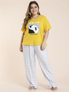 Loose Pants Sleepwears Womens 2PCS Plaid Letter Suits Summer Designer Plus Size Crew Neck Short Sleeve Tee With