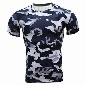 Strato Uomo Nuovo Base camuffamento T-shirt fitness Collant rapida Dry Camo T Shirts Top Camicie Tees Compressione