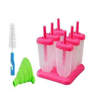 Un conjunto de 6 moldes de paleta reutilizables, máquina popsicle fácil de liberación con embudo de silicona y cepillo de limpieza, Rojo