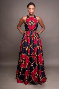 2020 Moda roupas Africano das senhoras em torno do pescoço Dashiki Maxi vestido sem mangas Plus Size Vestidos africanos para as Mulheres Robe Africaine