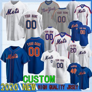 20 sur mesure Pete Alonso 2020 Mets Maillots 48 Jacob deGrom Darryl Strawberry Keith Hernandez Dwight Gooden 31 Piazza Baseball Jersey