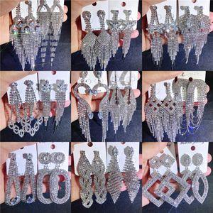 Mix Quaste Ohrringe Bling bling Glanz voller Kristall Strass Kralle Kette Diamant übertriebene Ohrringe Großhandel Schmuck ps1553 boutique