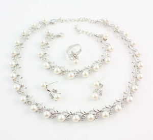 Imitation White Natural Pearl Jewelry Sets Rhinestone Ball Necklace Earrings Bracelet Ring Wedding Party Jewelry Sets
