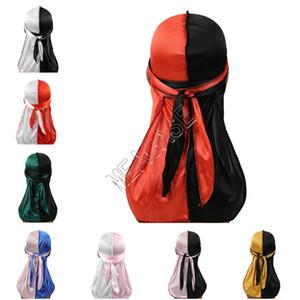الذيل المصممين Durags المرقعة اللون العمامة لامعة حريري Durag باندانا رجل إمرأة طويل القراصنة قبعات رباطات شعر اكسسوارات الغلاف D82412