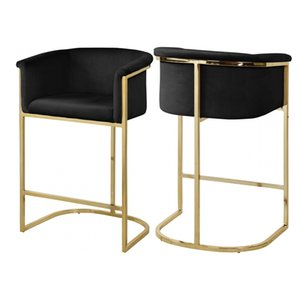 Luxury Modern Vintage Design Velvet Industrial Furniture Armrest Gold Metal Leg High Bar Stool Chair for Bar Home Coffee Shop
