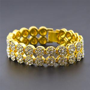 2 linhas Hip Hop Pulseiras Rua Homens Bangle com diamantes de ouro 18K Tide marca Titanium pulseira de aço