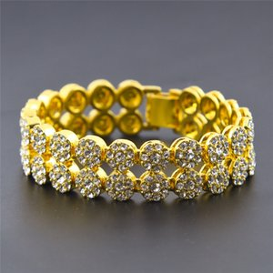 2 Reihen Hip Hop Armbänder Straße Männer Armband mit 18K Gold überzogen Tide Marke Titan Stahl Diamant-Armband