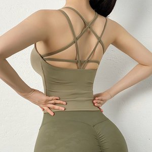 Strap Beauty Back Cross Sports Vest Fitness Tank Paded Yoga Vest shirt Running Yoga clothes Gym Crop top Workout Cloth
