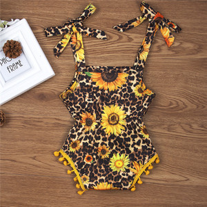2020 Children's Sling Skirt Sunflower Leopard Print Dress Little Girl Jumpsuit School Bag Butt Clothes