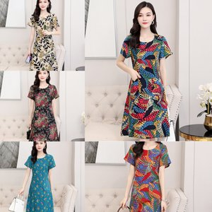 K68ev Mom Sommerkleid Kurzhülse 2020 neue langen Rock Rock lang Frauen mittleren Alters Baumwolle Seide über das Knie mittleren Alters Kleid
