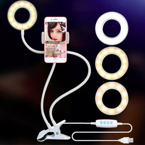 New LED Selfie Ring Light with Cell Phone Universal Holder Desk Clip Live Stream Makeup Lamp for All Phones