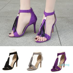Hot sale-2018 Women's Stiletto Suede Sandals High Heel T-strap Buckle Tassels Dress Party Top Quality Summer Shoes