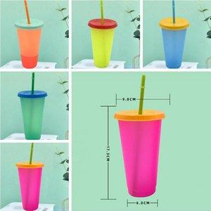 Bicchieri Cambiare colore Tazze alimentari Grado Materiale PP Temperature Sensing tazze bottiglie Magro Tumblers tazza della tazza d'acqua con coperchio Drinware LSK939