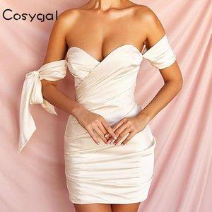 COSYGAL White Satin Bodycon платье Sexy с плеча партии Мини платье лето Backless Solid V шеи Elegant женщин Robe 2020