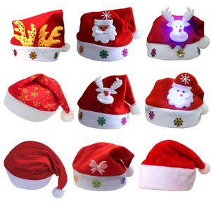 Chapeau de Noël LED Chapeau de Noël lumineux Adulte Enfants Père Noël rouge Chapeaux Fête de Noël Cosplay Chapeaux AHB1014