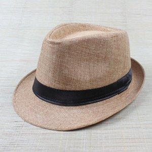 WEIXINBUY femmes Trilby plage Chapeau de soleil chapeaux Mode Femmes Gangster Cap Summer Beach Sun Straw Hat Panama