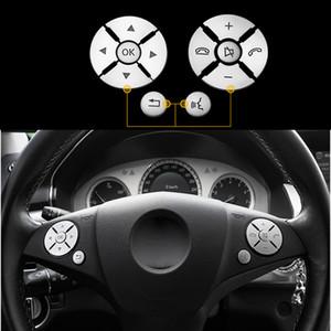 Car Interior Steering Wheel Button Switch Trim Cover Sticker For Mercedes Benz C E S Class W204 W212 W221 GLK X204 C200 C250 Accessories