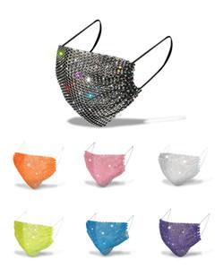 Elmas Parti'yi Bling Renkli Mesh Maskeler Yapay elmas Izgara Net Kadınlar için Yıkanabilir Seksi Hollow Maske Maske