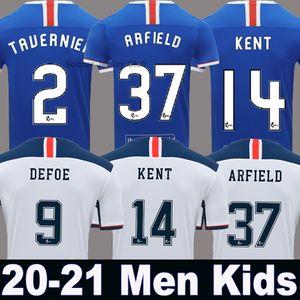 (20 개) (21) 태국 품질 글래스고 레인저스 FC 홈 파란색 축구 유니폼 2020 2021 레인저스 멀리 흰색 남성 + 아이들이 설정 키트 축구 셔츠 유니폼