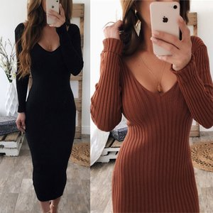 Sexy V-neck Knitted Sweater Dress Women Long Sleeve Midi Bodycon Dress Black White Red Stretchy Knitted Winter vestidos