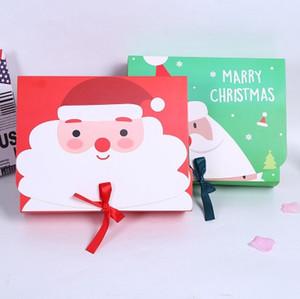 Réveillon de Noël Big Coffret Cadeau Père Noël Fée conception Papercard Kraft Parti présent Boîte Activité Favor Rouge Vert EEA684-A