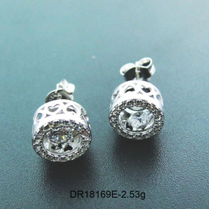 100% Real 925 Sterling Silver Moving CZ Stone Stud Earrings Dancing Diamond Dancing CZ Jewelry Women's Earrings For Gift