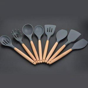 8pcs Set Holz Griff Silikon-Kochgeschirr für Küche Intarsien Turner spatel Spaghetti Werkzeuge Kochen Sets