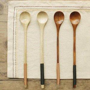 Colher sopa de arroz Crianças colher de mistura de madeira Sobremesa Madeira Mesa Coffer Spoons Manipulados longo hJ2009 GKQyK