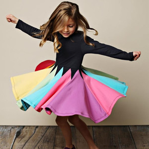 New Fashion Fall Winter Rainbow Long Sleeve Cotton Color Block Cute Baby Girl Cotton Party Dresses for Kids Princess Girls Dress