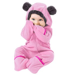 Winter Infant Rompers Newborn Baby Boy Girl Knitted Sweater Hooded Kid Toddler Zip Clothes Jumpsuit 1D11