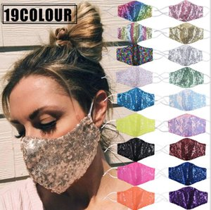 Masks Sequins Bling Bling Face Mask Double Layer Colorful Mouth Covers Summer Breathable Sunscreen Mask Personality Dustproof Mask YYA826