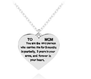 Mother's Day Gift TO MOM Heart Shaped Engraved Necklace Fashion Jewelry Pendant Link Chain Sweater Clavicle Necklace