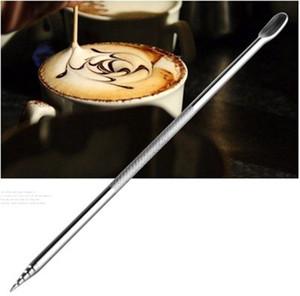 Barista Cappuccino Espresso Café Décoration Latte Art Pen Tamper Needle Creative Outils en acier inoxydable Fantaisie café bâton DBC BH4016
