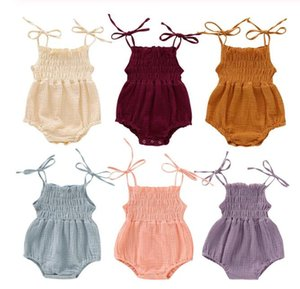 6 Colors New Lovely Retro Baby Girls Lace Up Romper Soft Cotton Summer Sleeveless Strap Toddler Pleated Jumpsuit Overalls