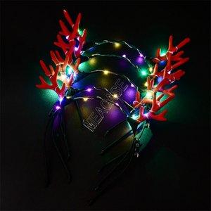 LED Antlers leuchten Stirnband Lumious Flashing Haar haftet Halloween-Weihnachtsfest-Bevorzugung Cosplay Licht emittierende Weihnachten Deer Haarspange d91703