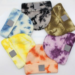 Unisex Tie-dyed Beanies Winter Knitted Beanies Warm Hats Beanies Casual Hats Caps For Men Women DHL Shipping