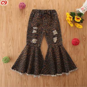 Criança bebê crianças Roupa para meninas leopardo de Bell inferior flare jeans Pants Meninas Crianças Layered Tassel rasgado Buraco Calças 1-6Y