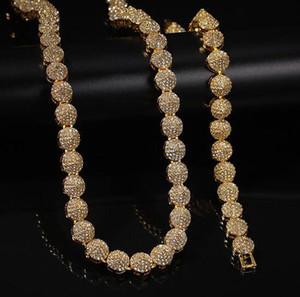 Mens 10 millimetri placcatura in oro Cluster catena Braclet catena gioielli di cristallo del diamante del Rhinestone di Bling della collana di Hiphop