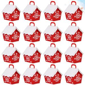 25pcs de Navidad Red Little House caramelo preciosa caja de contenedores Moda de Navidad cajas de regalo para el hogar de la boda del festival del partido de Navidad (R