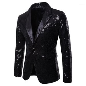 Party Blazer Fashion Panelled Skinny Mens Club Coats V Neck Sequins Single Button Mens