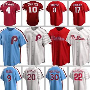 Personnalisés Phillies 3 Bryce Jersey 20 Mike Schmidt Harper 10 Darren Daulton McCutchen Aaron Nola Realmuto Franco Dykstra Williams Bruce
