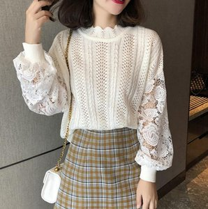 2020 autumn lace sleeve sweaters women hollow out sleeve knitted pullovers woman sweaters