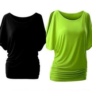 XCt2J Women'sshoulder bat boyun boyutu yuvarlak, kısa bir T-shirt ceket büyük renkli tişört kol klip kol klip 2945