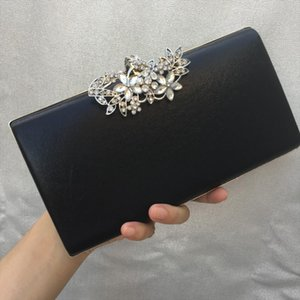 Evening Bags DAIWEI New Womens Fashion PU Leather Formal Event Party Wedding Evening Bag Handbag Clutch with Diamonds BLACK GOLD SILVER
