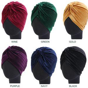 Yeni Tasarım Kadife Işık Plaka Hint Hat Katı Boyama Turban Bonnet Hicap Eşarp Cap Aksesuar Muslin Bayanlar Şapkalar Wrap