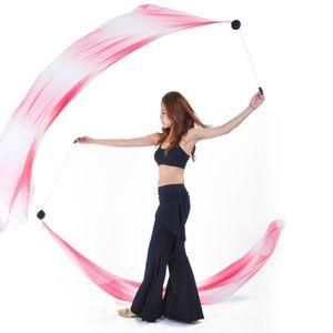 Danse soie Veil POI Streamer Stage Jeté Balls Femmes de danse du ventre niveau des mains Prop 2Pcs soie Voile + 2 pièces POI chaîne boule ventre