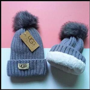 Kadınların doğal kürk örme kontrast renk Şapkalar gençlerin kış kalınlaştırmak sıcak moda ebeveyn-çocuk Skullies Beanies