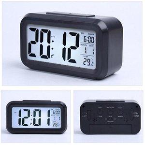 Smart Sensor Nightlight Digital despertador com temperatura Termômetro Calendário, silencioso Desk relógio de mesa de cabeceira Despertar Snooze HWD926