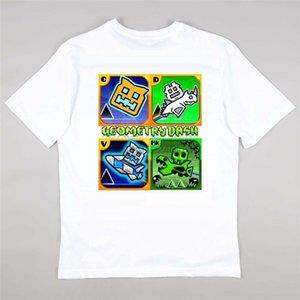 기하학 대시 게임 팬 T 셔츠 소녀 소년 티 - 개인 무료 나이 5-15 하라주쿠 재미 티 셔츠